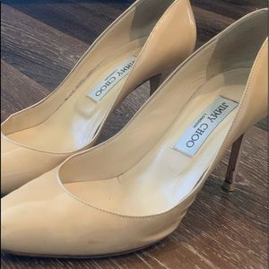 Jimmy Choo Gilbert 38.5 Nude patent leather heels